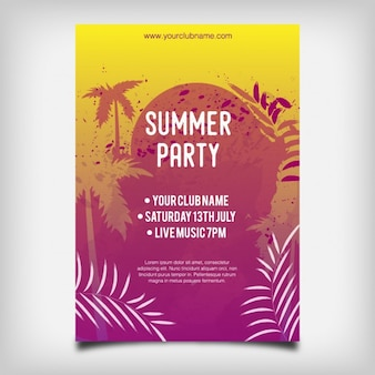 Colorido cartaz do partido do verão