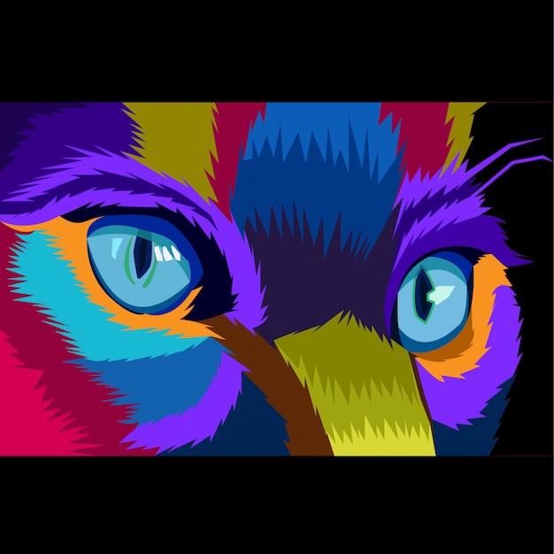 Colorido close-up gato conceito pop art vector