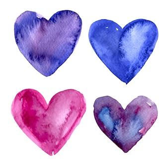 Colorido coleção corações da aguarela
