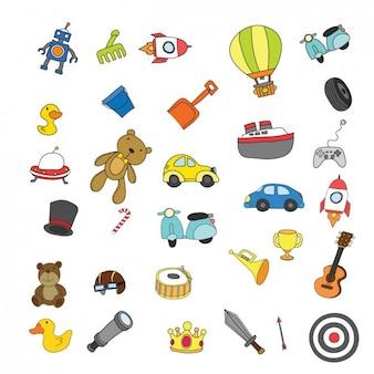 Colorido coleção crianças brinquedos