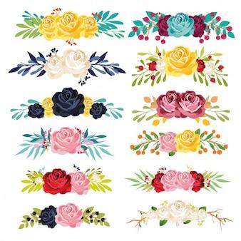 Colorido coleção ornamentos florais
