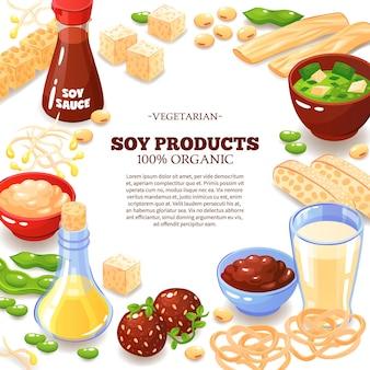 Colorido com moldura decorativa composta por produtos de soja e informações de texto interno sobre desenhos animados de comida vegetariana