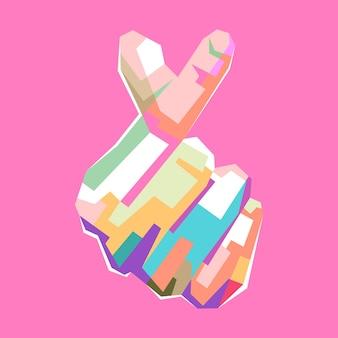 Colorido coreano coração sinal pop art retrato design