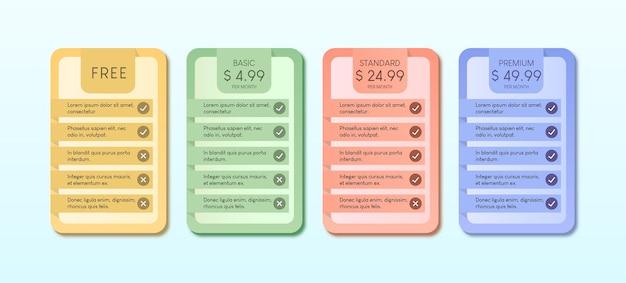 Colorido da tabela de preços com ilustração de quatro opções em fundo azul claro.