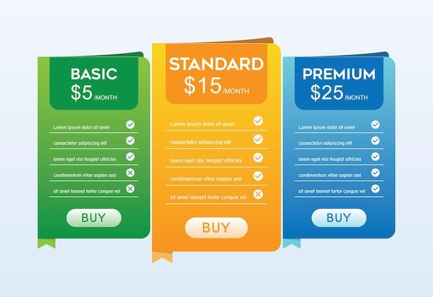 Colorido da tabela de preços com quatro opções de ilustração vetorial sobre fundo azul claro.
