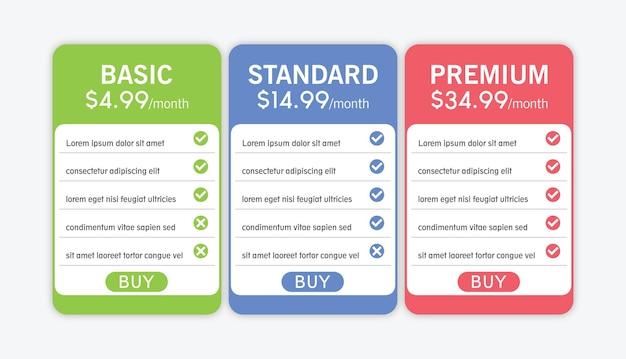 Colorido da tabela de preços para negócios com três opções de ilustração vetorial sobre fundo cinza claro.
