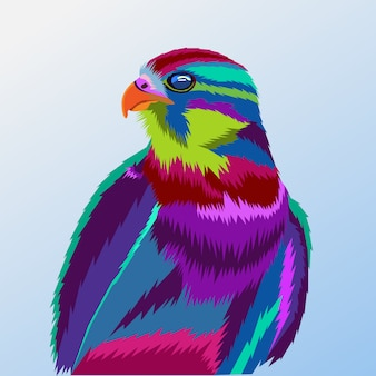 Colorido, de, águia, pop art, retrato