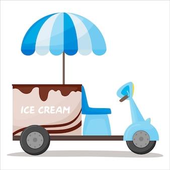 Colorido de carrinho de sorvete móvel. quiosque de rua