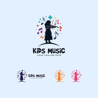 Colorido de crianças brincando de design de logotipo de música