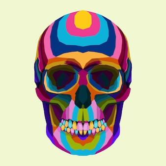 Colorido de estilo de vetor de crânio pop art