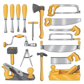 Colorido de ferramentas de carpintaria, trabalho de madeira