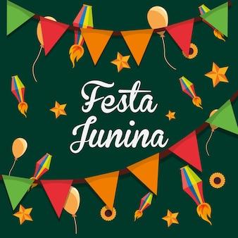 Colorido de festa junina com flâmulas decorativas e balões sobre fundo verde