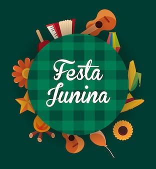 Colorido de festa junina com ícones relacionados ao redor do fundo verde