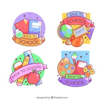 Colorido de volta à coleção de distintivo de escola
