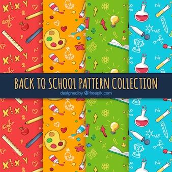 Colorido de volta à coleção padrão de escola