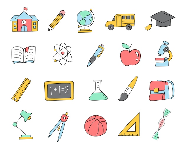 Colorido de volta à escola doodle icons