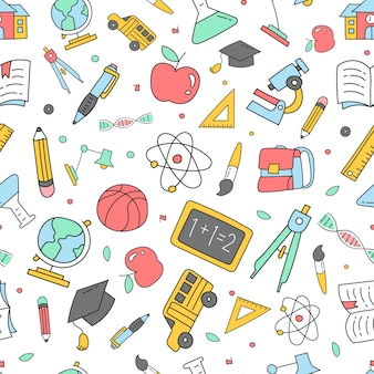 Colorido de volta ao padrão de doodle de escola