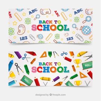 Colorido de volta para banners web de escola