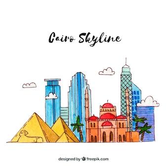 Colorido, desenhado mão, cairo, skyline