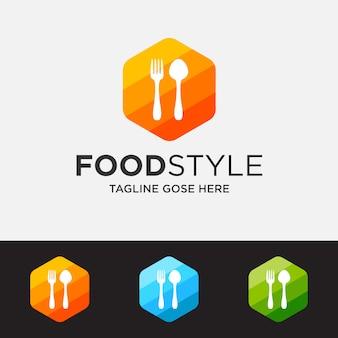 Colorido do conceito de logotipo de restaurante, modelo de logotipo de restaurante