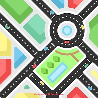 Colorido, estrada, mapa, liso, desenho
