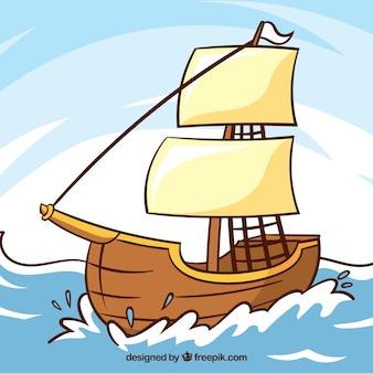 Colorido, fundo, madeira, bote