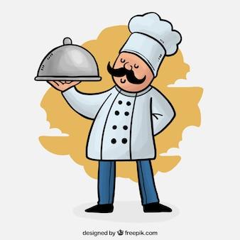 Colorido, fundo, orgulhoso, cozinheiro, bandeja