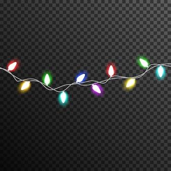 Colorido garland light bulb decoration transparent