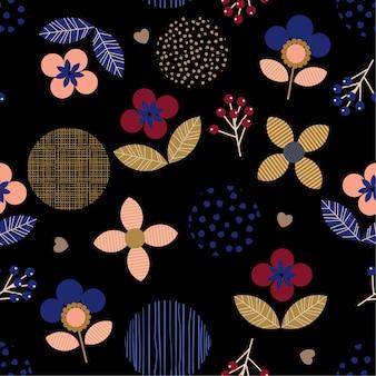 Colorido geométrico polka dot floral, padrão sem emenda de linha