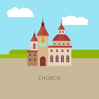 Colorido, igreja, predios, ilustração