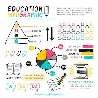 Colorido infográfico sobre a educação, desenhado mão