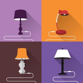 Colorido lâmpadas coleção