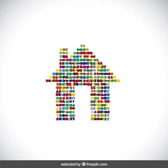 Colorido logotipo da casa pontilhada
