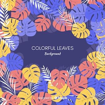 Colorido, mão, desenhado, folhas, fundo