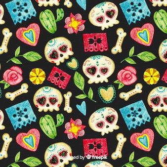 Colorido padrão de día de muertos com caveiras