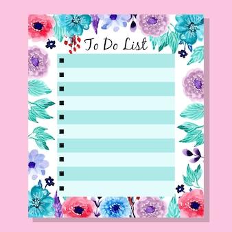 Colorido para fazer a lista com flor aquarela