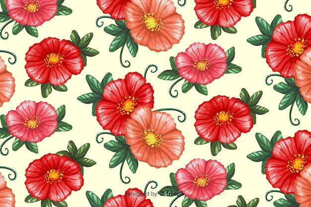 Colorido pintado flores de fundo