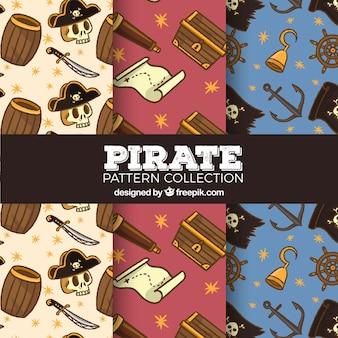 Colorido, pirata, padrões, variedade, elementos