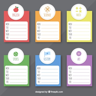 Colorido planejador semanal com assuntos
