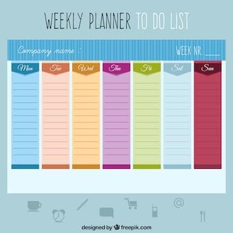 Colorido planejamento semanal para fazer uma lista