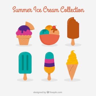 Colorido sorvetes no design plano