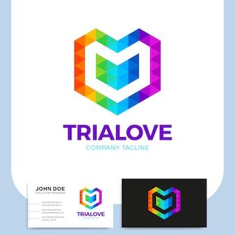 Colorido triangulo de polígono coração abstrato forma de amor para o seu design
