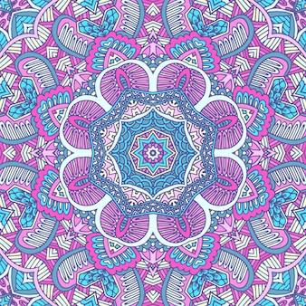 Colorido tribal étnico festivo abstrato sem costura floral vetor padrão