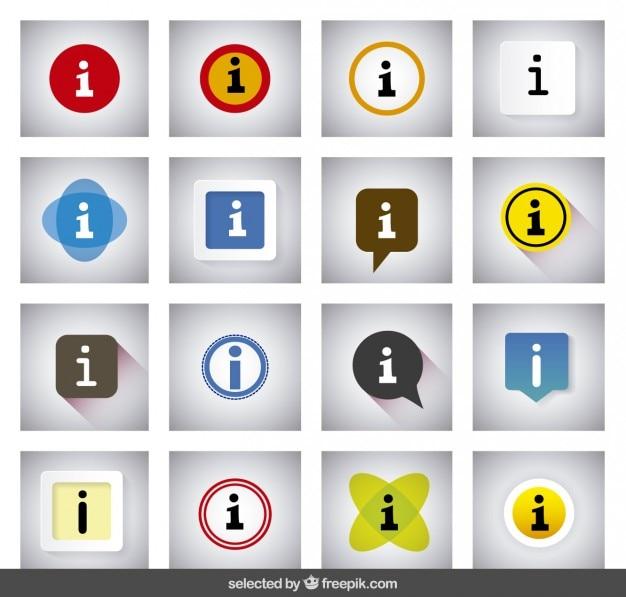 Coloridos botões de informação