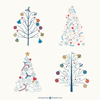 Coloridos desenhos árvores de natal