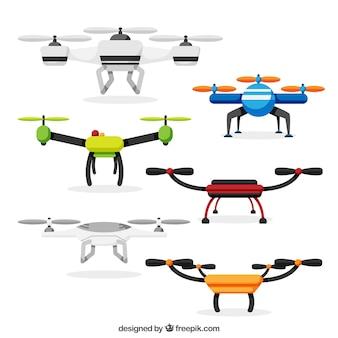 Coloridos drones com design plano