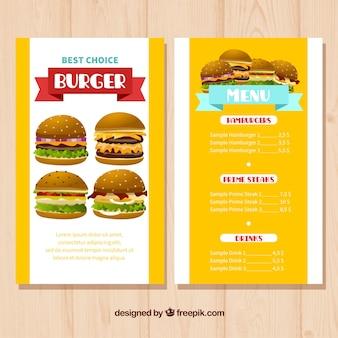 Coloridos, menu, modelo, variedade, hambúrgueres