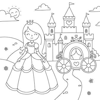 Colorindo paisagem linda princesa com uma carruagem perto do castelo
