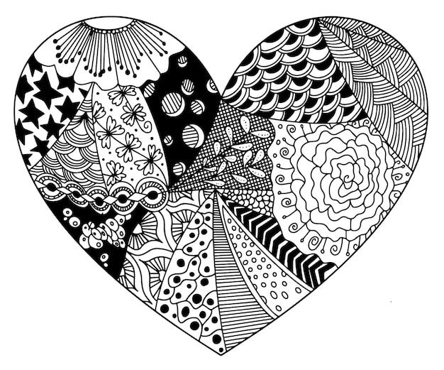Colorir a partir de padrões zentangle na forma de aplicação de coração em materiais impressos, criando