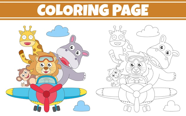 Colorir animal fofo andando de avião